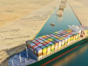 Maritime traffic jam. Container cargo ship run aground and stuck